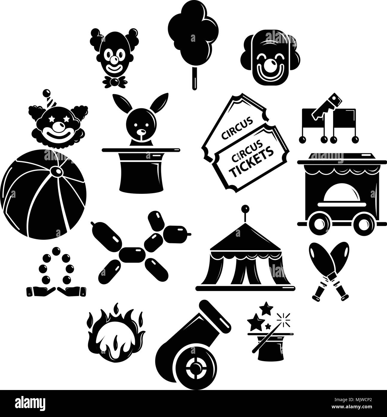 Circus icons set, simple style - Stock Image