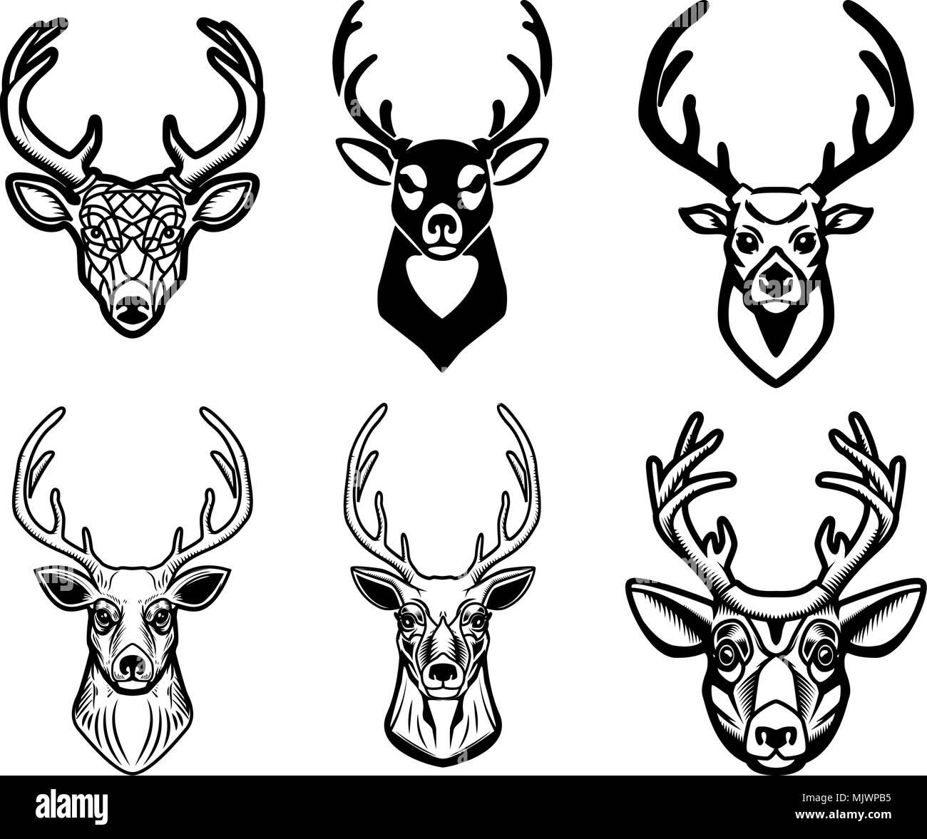 Set Of Deer Head Illustrations On White Background Design Elements For Poster Emblem Sign Badge Vector Image