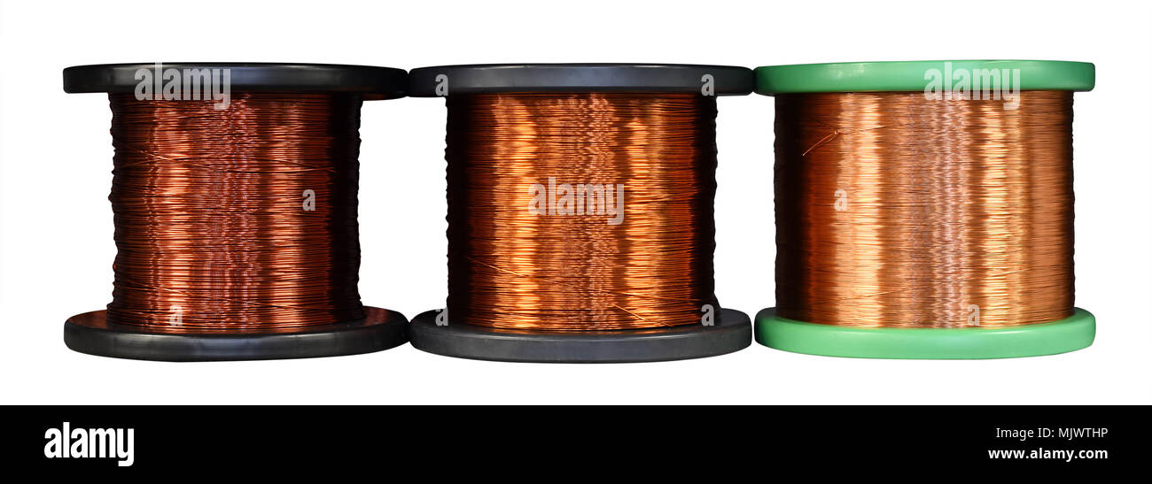 Three different rolls of copper wire with assorted thicknesses and conductivity isolated on white in a concept of the electronics industry - Stock Image