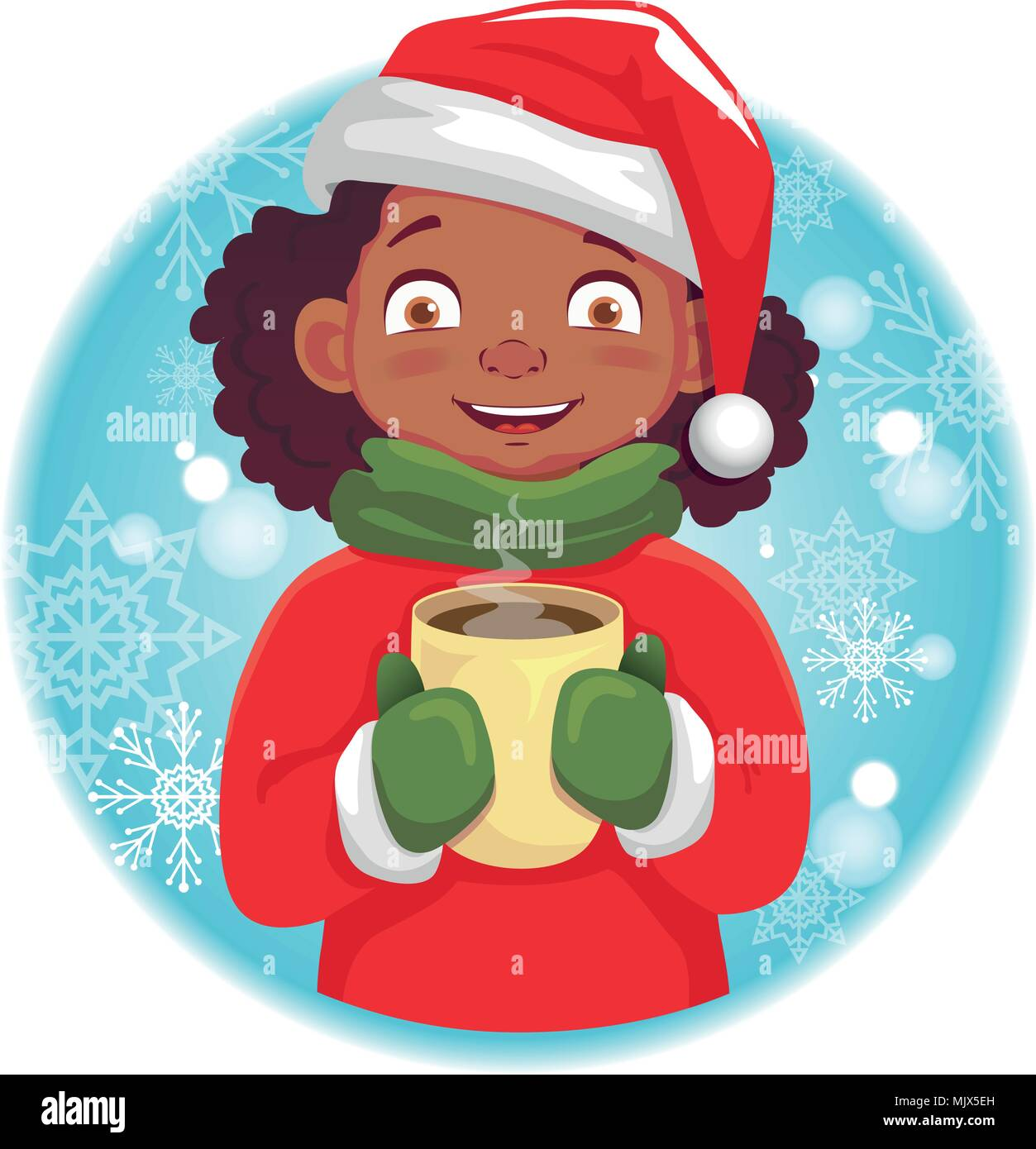 Afro-American girl holding a hot cup - Stock Image