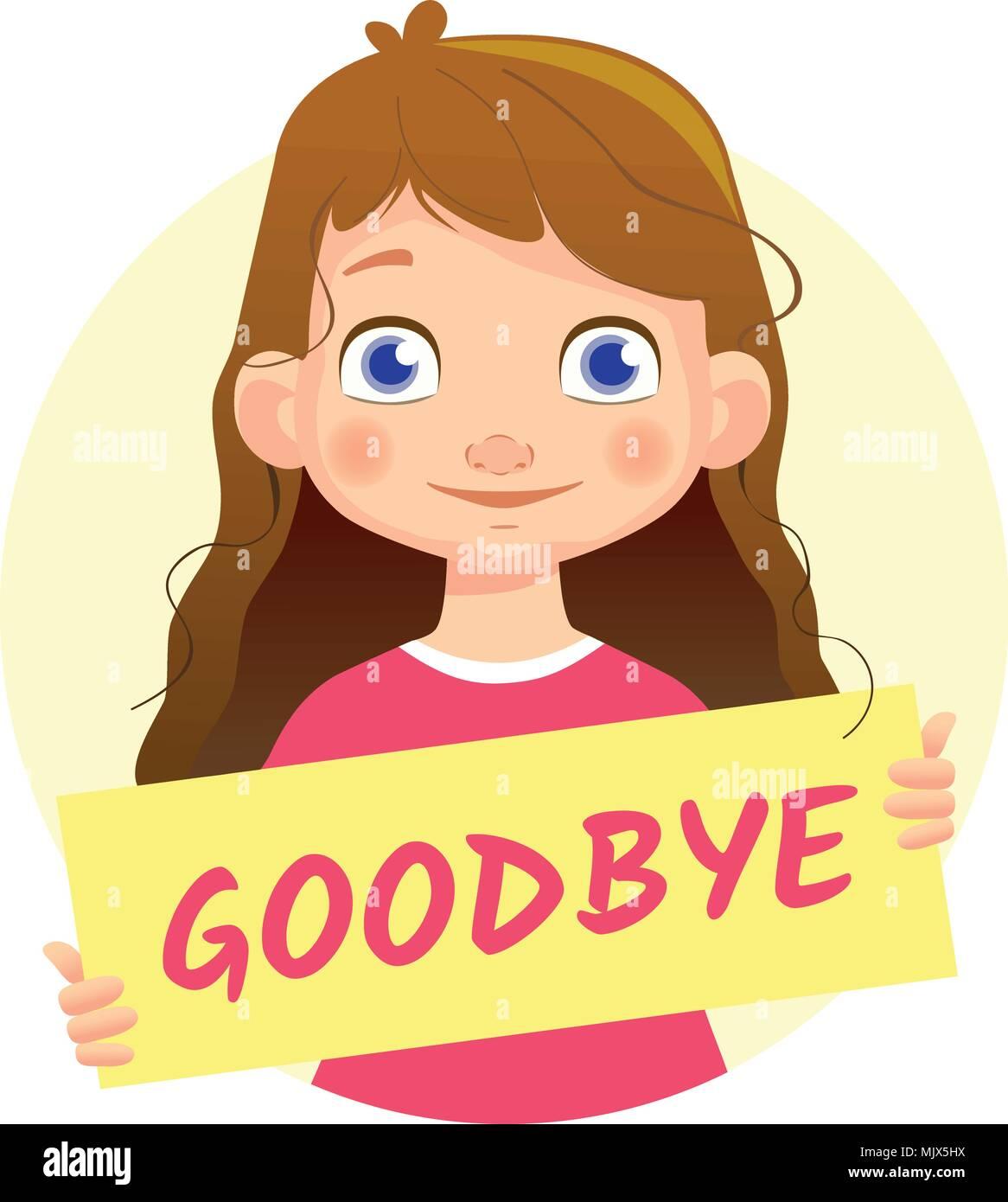 Girl holding Goodbye poster - Stock Image