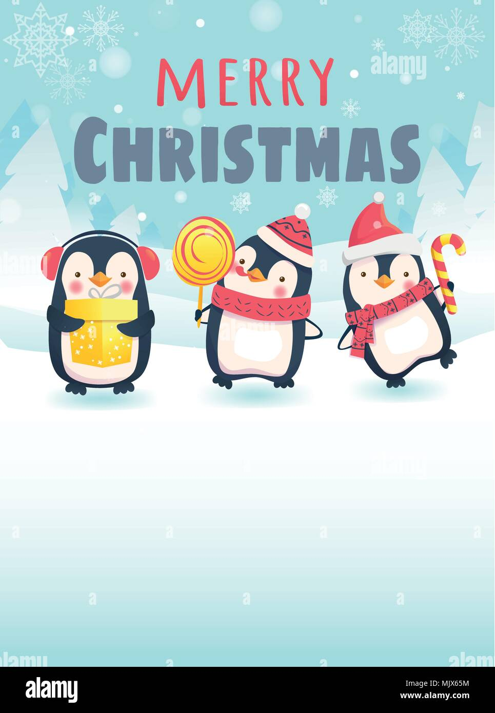 Penguins with Christmas gifts Stock Vector Art & Illustration ...