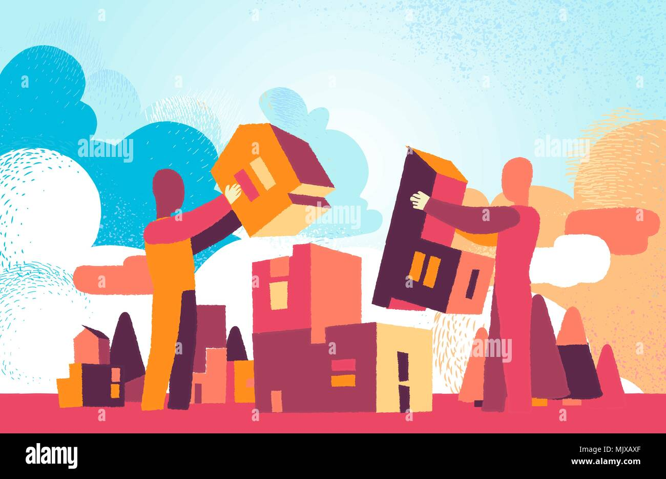 Two man work together to building the city of tomorrow - Stock Vector