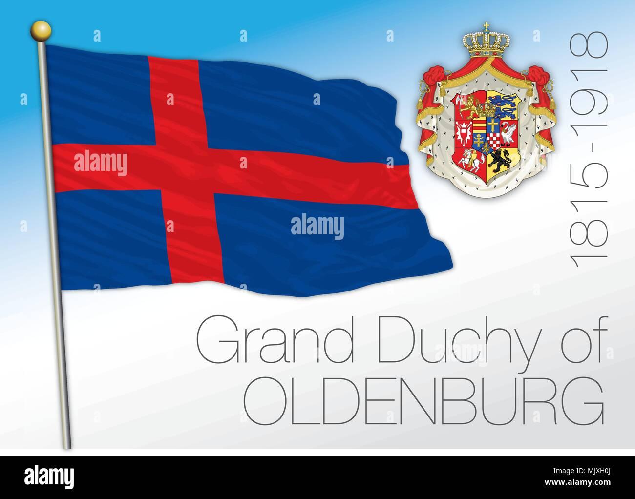 Duchy of Oldenburg historical flag, Germany - Stock Vector