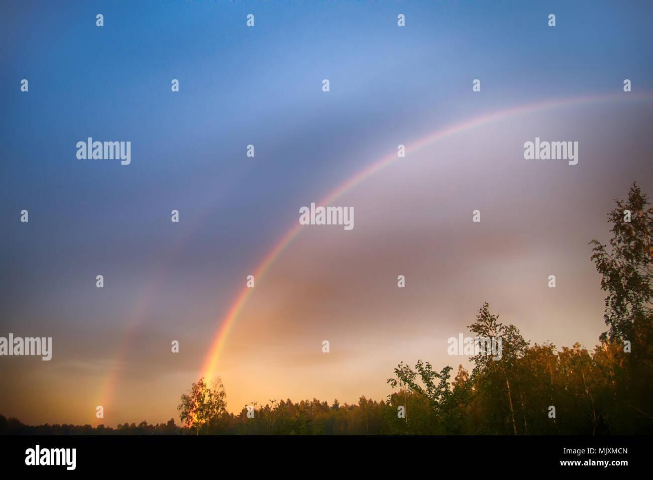 Double rainbow over forest, primary rainbow, second-order rainbow, bright picture, rainbow palette. Atmospheric phenomenon, optical phenomenon, weathe - Stock Image