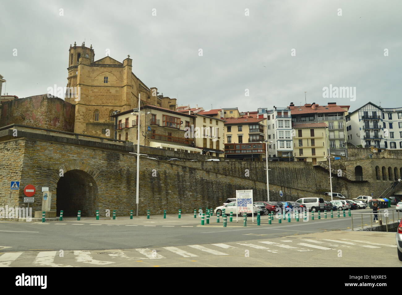 Beautiful Fortified Town Of Getaria Capture Taken From Its Beautiful Harbor. Architecture Middle Ages Travel. March 26, 2018. Getaria Guipuzcoa Basque - Stock Image