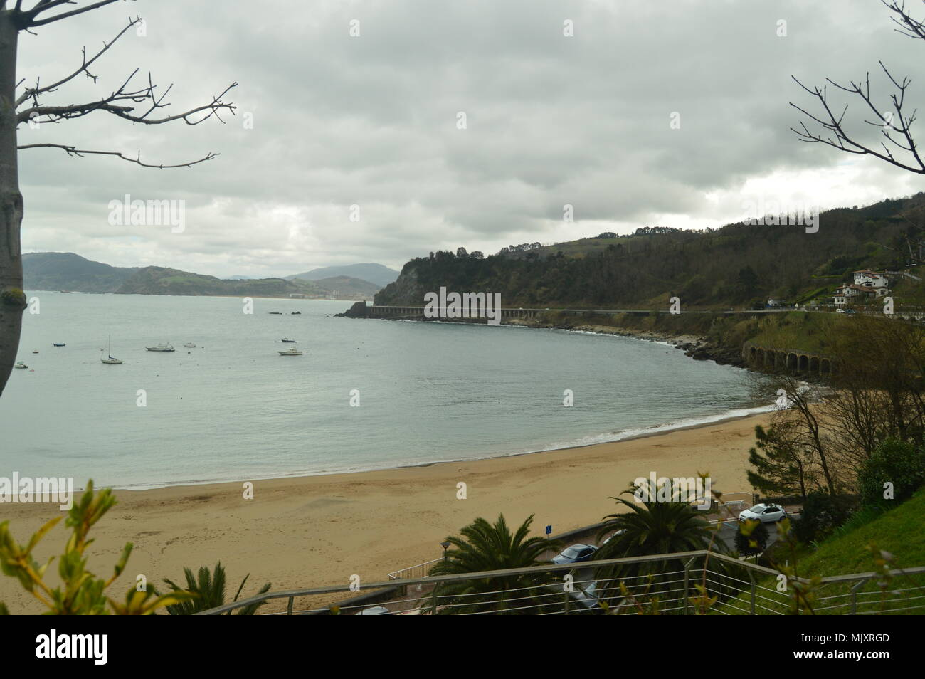 Magnificent Views Of The Beach From Its Highest Point In The Fortified Town Of Getaria. Nature Middle Ages Travel. March 26, 2018. Getaria Guipuzcoa B - Stock Image