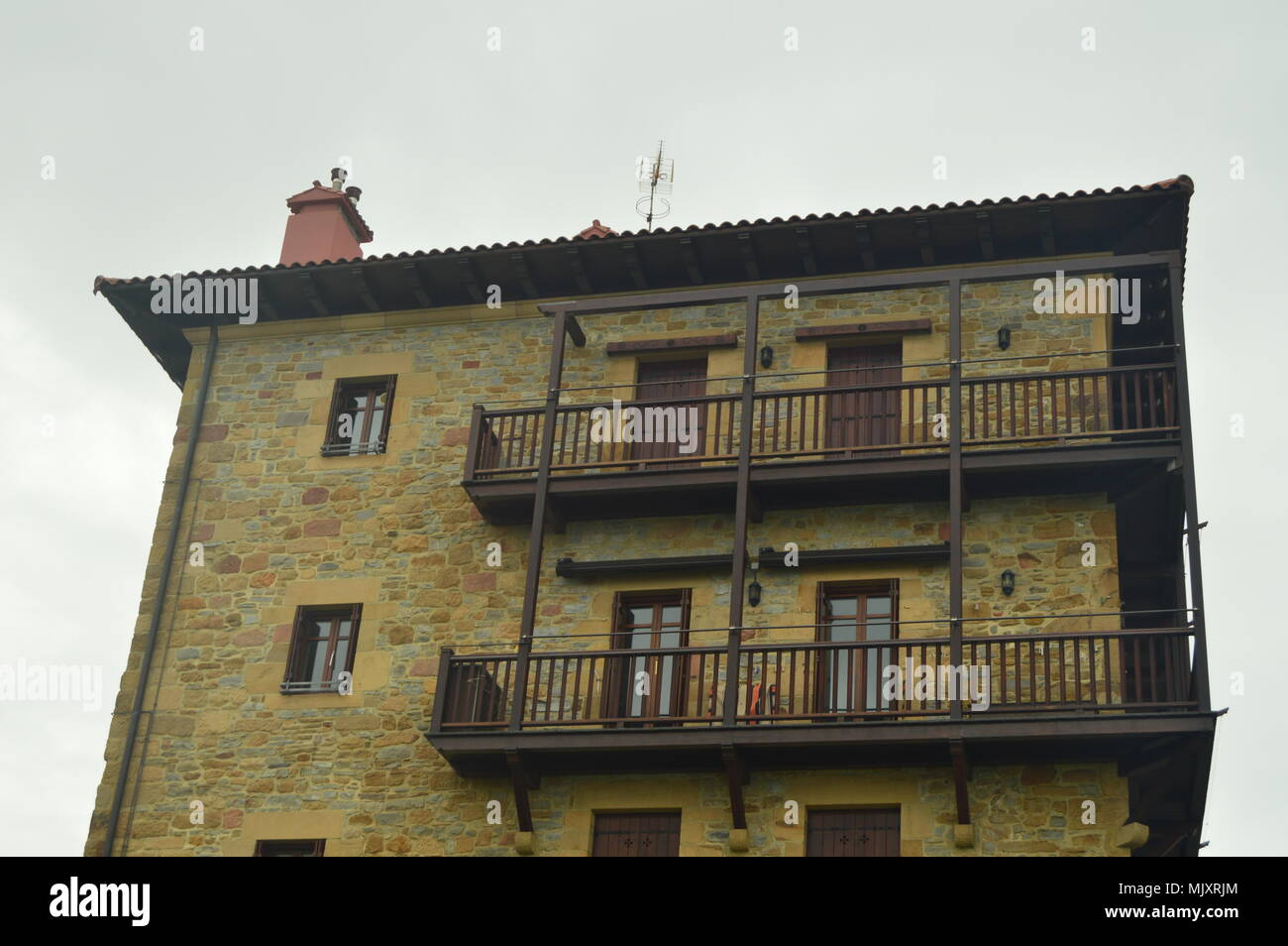 Picturesque And Typical Building In The Fortified Town Of Getaria. Architecture Middle Ages Travel. March 26, 2018. Getaria Guipuzcoa Basque Country S - Stock Image