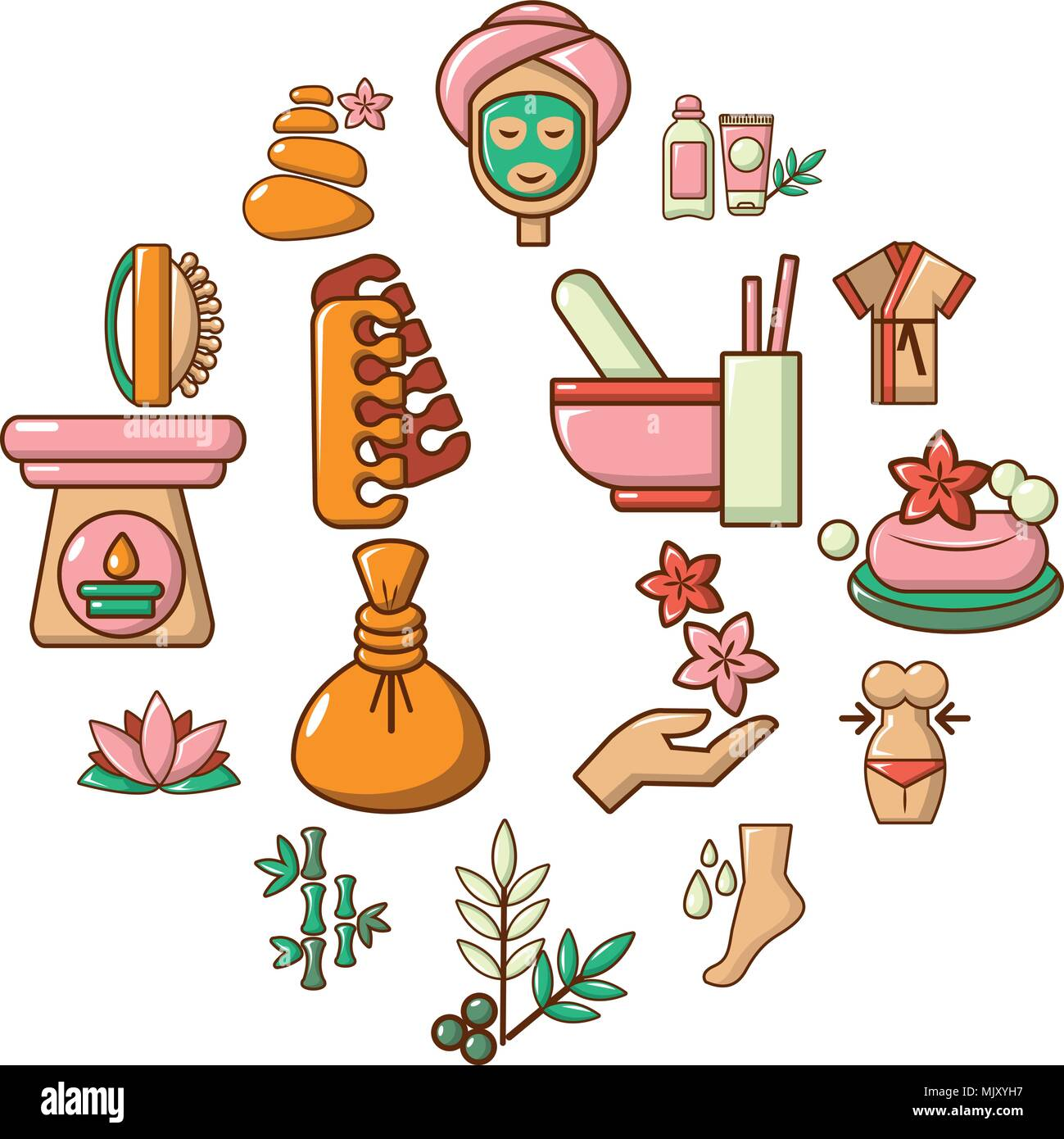 Beauty Salon Icons Set Cartoon High Resolution Stock Photography And Images Alamy
