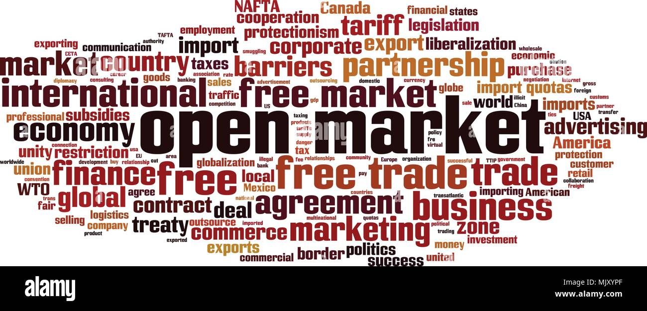 Open market word cloud concept. Vector illustration Stock Vector