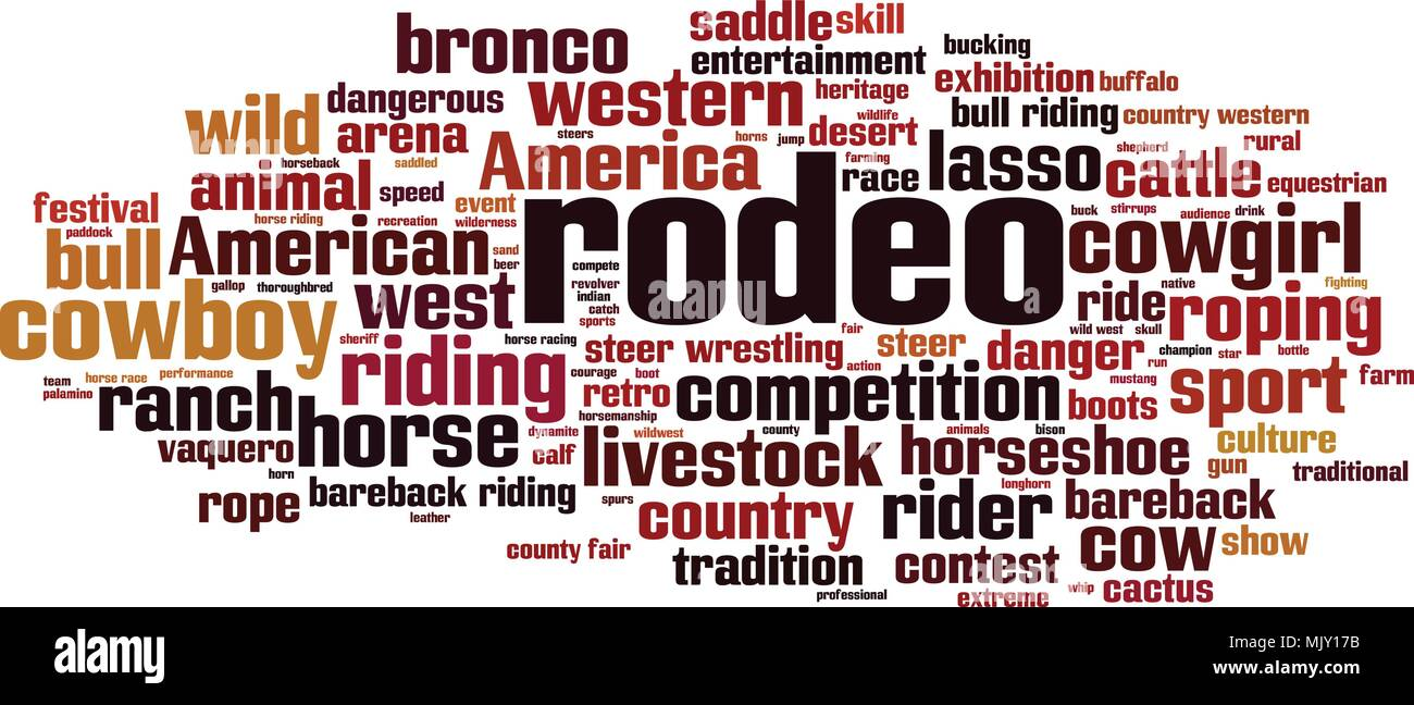 Rodeo word cloud concept. Vector illustration - Stock Image