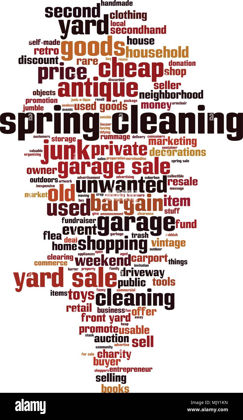 Spring cleaning word cloud concept. Vector illustration - Stock Vector