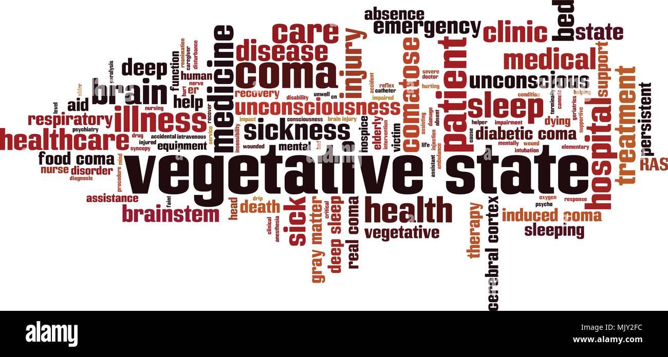 Vegetative state word cloud concept. Vector illustration - Stock Image