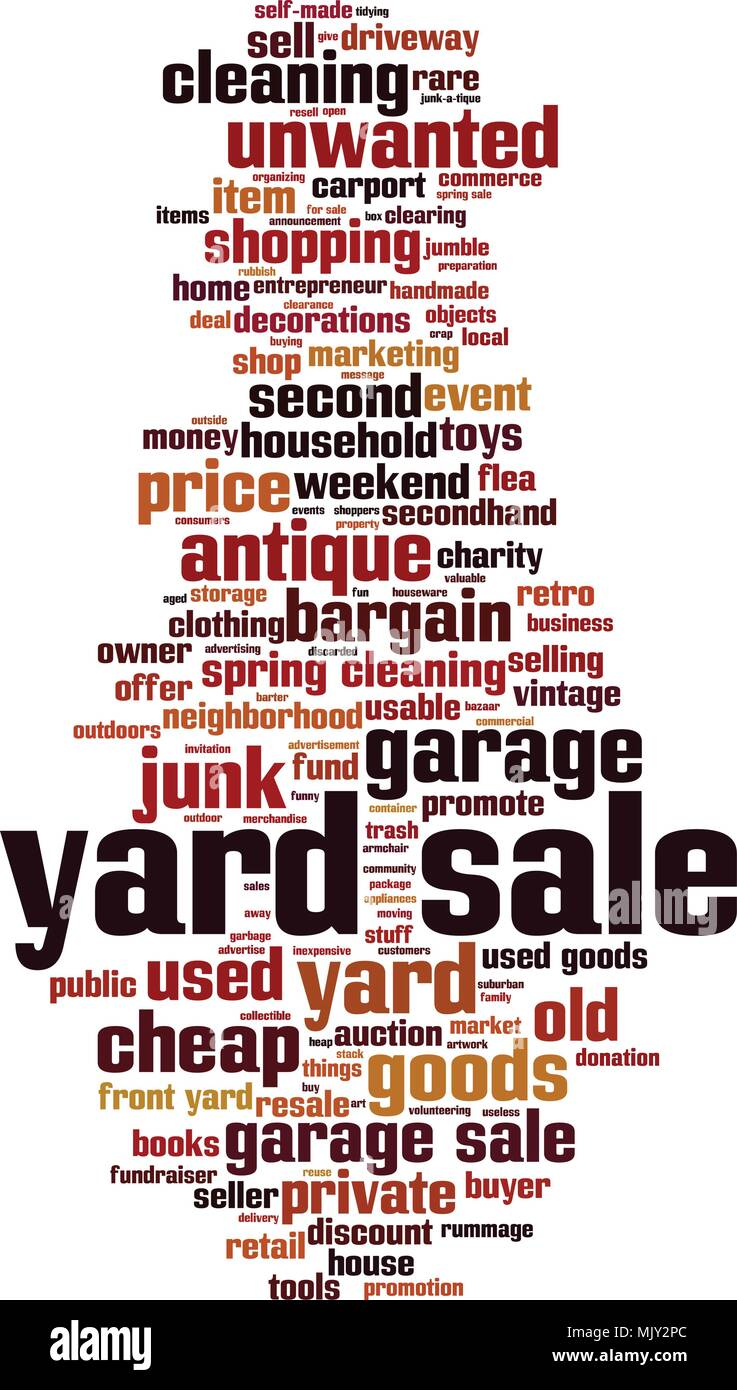 Yard sale word cloud concept. Vector illustration - Stock Vector