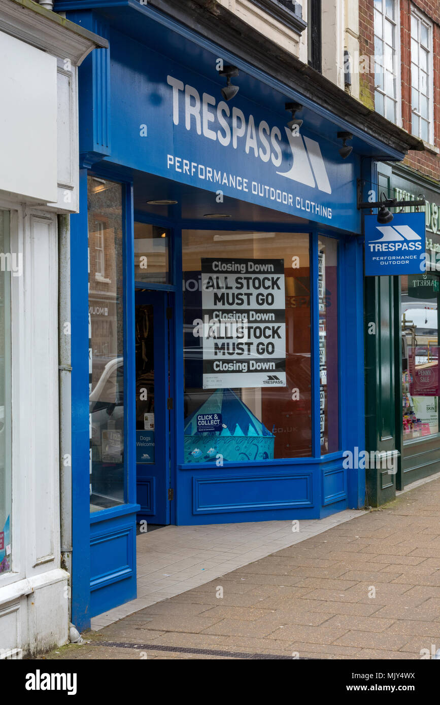 the high street sports and outdoor clothing retailer trespass closing down on the main shopping mall in newport on isle of wight. victim of internet. - Stock Image