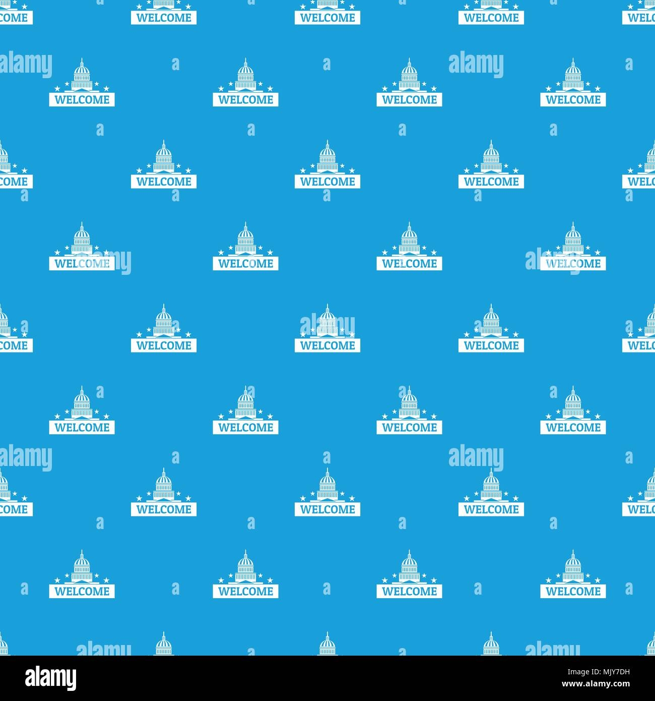 Welcome to USA pattern vector seamless blue Stock Vector