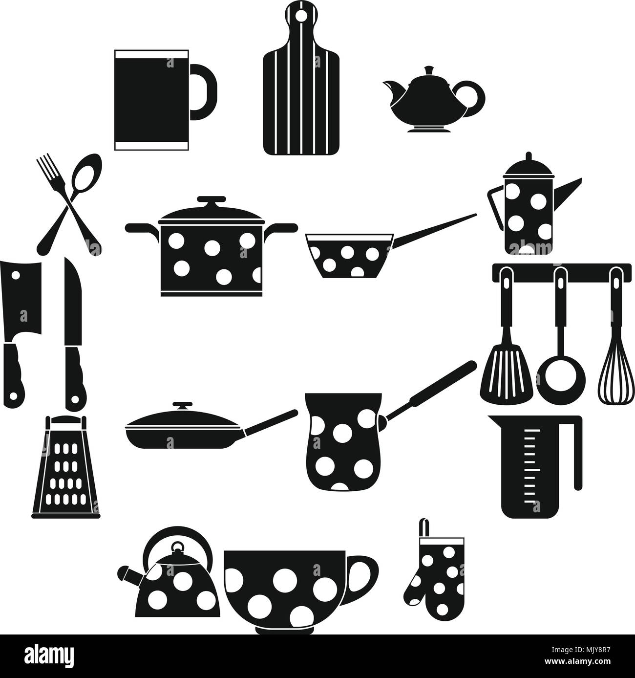 Kitchen tools and utensils icons, simple style - Stock Image