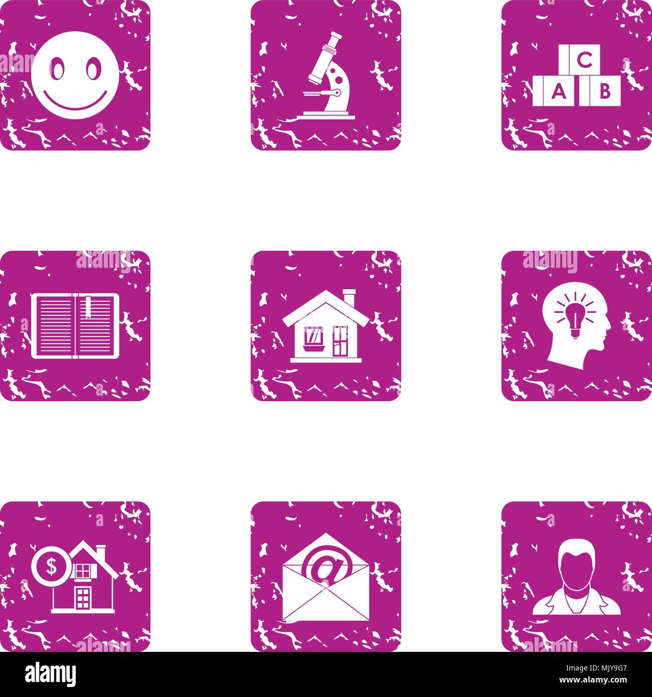 Mind of child icons set, grunge style - Stock Image