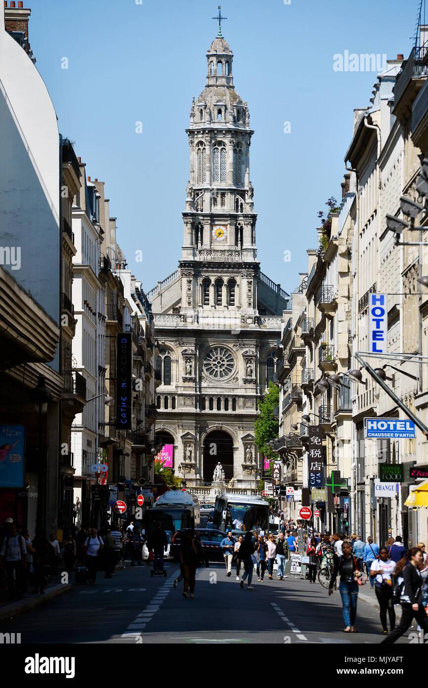 The Église de la Sainte-Trinité is a Roman Catholic church located in the 9th arrondissement of Paris, France. - Stock Image
