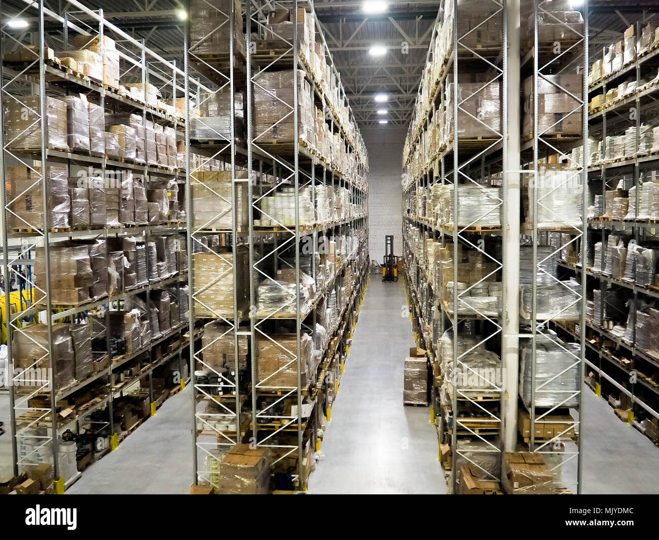 Large modern blurred warehouse industrial and logistics