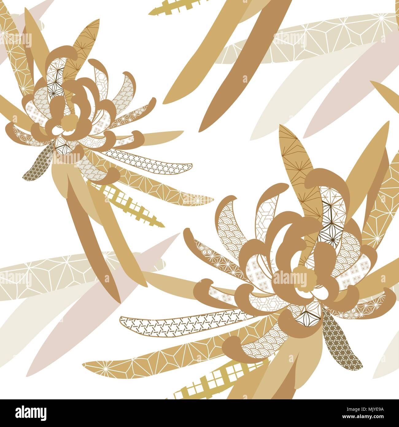 Japanese Pattern Seamless Vector Gold Floral Background For