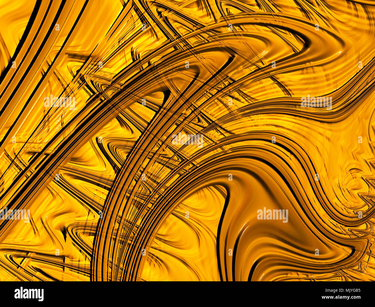 abstract fractal textured gold background with multiple curved lines