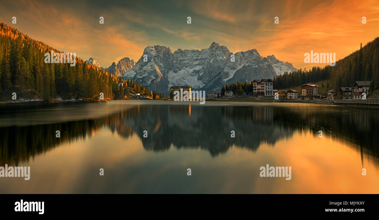 Lake Misurina  is the largest natural lake of the Cadore and it is 1,754 m above sea level, near Auronzo di Cadore (Belluno). - Stock Image