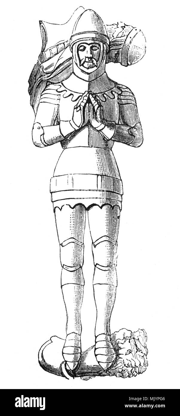 The effigy of Michael de la Pole, 1st Baron de la Pole, 1st Earl of Suffolk (1330–1389) was appointed Chancellor in 1383. However, in the late 1380s his fortunes radically altered, in step with those of the king. During the Wonderful Parliament of 1386 he was accused of embezzlement and negligence, a victim of increasing tensions between Parliament and King Richard II and became the first official in English history to be removed from office by the process of impeachment. He died in Paris and is buried in the Carthusian Priory, Kingston upon Hull, Yorkshire, England - Stock Image