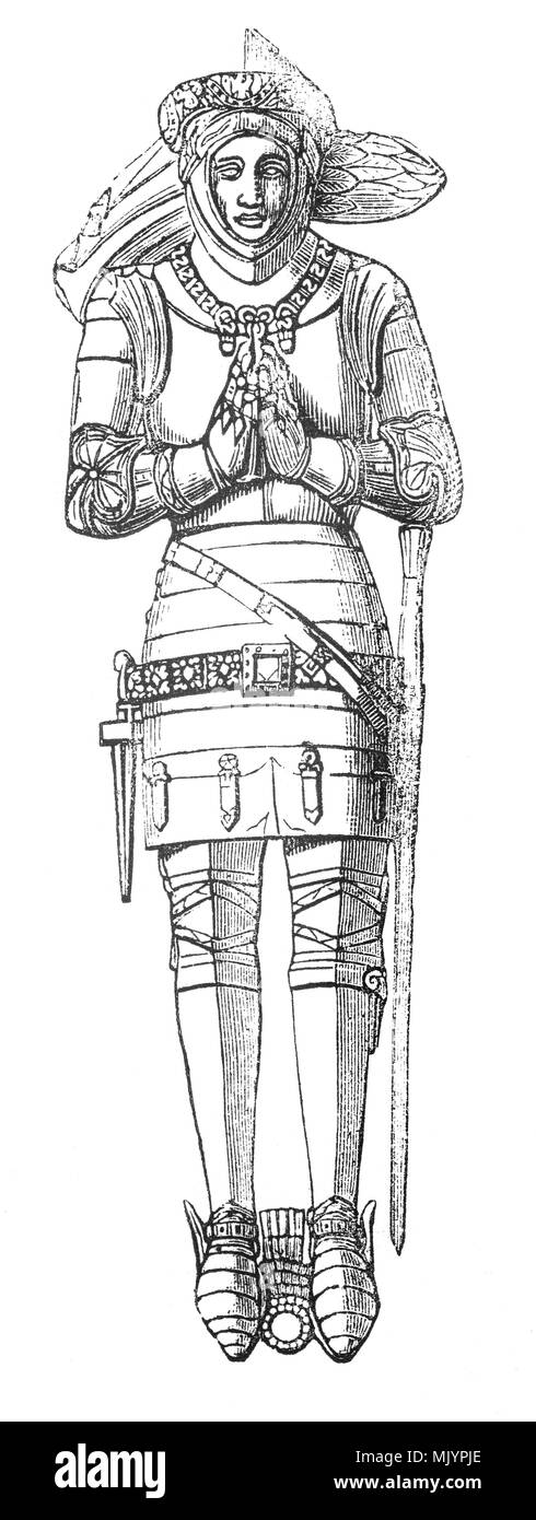 The effigy of Sir Robert Goushill (1350-1403) in the parish church of St.Michael at Hoveringham, Nottinghamshire, England.  Whilst fighting for Henry IV at the Battle of Shrewesbury (21st July 1403) he was badly wounded, then treacherously stabbed to death by his servant. - Stock Image