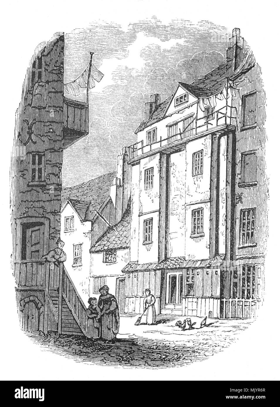The Almonry of Westminster Abbey, where William Caxton (1412-1493) set up the first printing press in England in 1472; the house was demolished in 1845, as were the other buildings of the Almonry. Caxton was born in Kent and after schooling spent many years in Bruges and Holland, rising to an eminent position among his fellow merchants. He went to Cologne and embraced the new technique of printing and acquired a press in order to publish his translations of various French books. Bringing his press to England he rented premises at the sign of the Red Pale in Westminster. Stock Photo