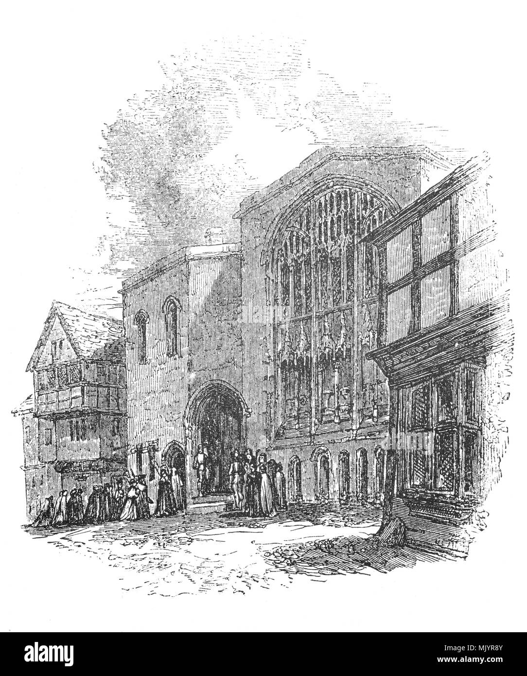 St. Mary's Hall is a guildhall built in Coventry, Warwickshire, England, first built 1340–42.  lt originally served as the headquarters of the united guilds of the Holy Trinity, St. Mary, St. John the Baptist and St. Katherine. Following the suppression of guilds in 1547, for a time it served as the city's armoury and later, its treasury. - Stock Image