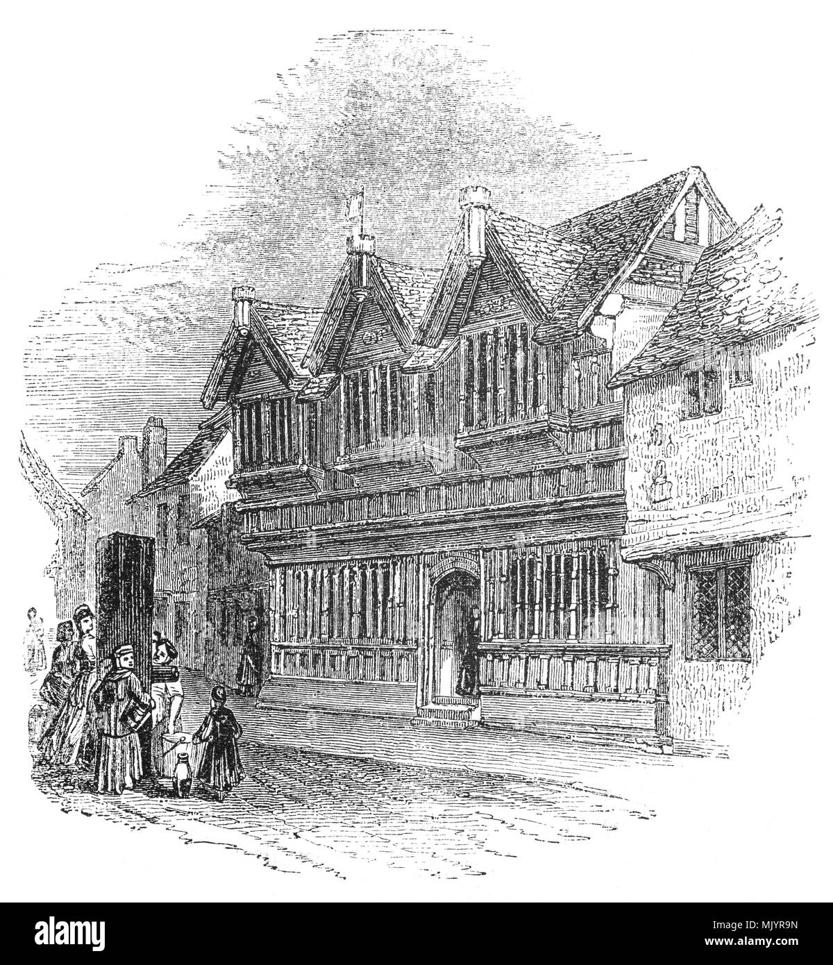 Ford's Hospital Almshouse, a picturesque English timber-framed building known as Ford's Hospital was founded in 1509 by a former Mayor Coventry named William Ford as an almshouse, providing a residence for elderly people. Inside the building is a narrow courtyard (13 yd × 4 yd considered by historians and writers to be a particularly fine example of English domestic architecture of the period. During the Coventry Blitz, the building was hit by German bombing,but was restored with the original timbers between 1951 and 1953. - Stock Image