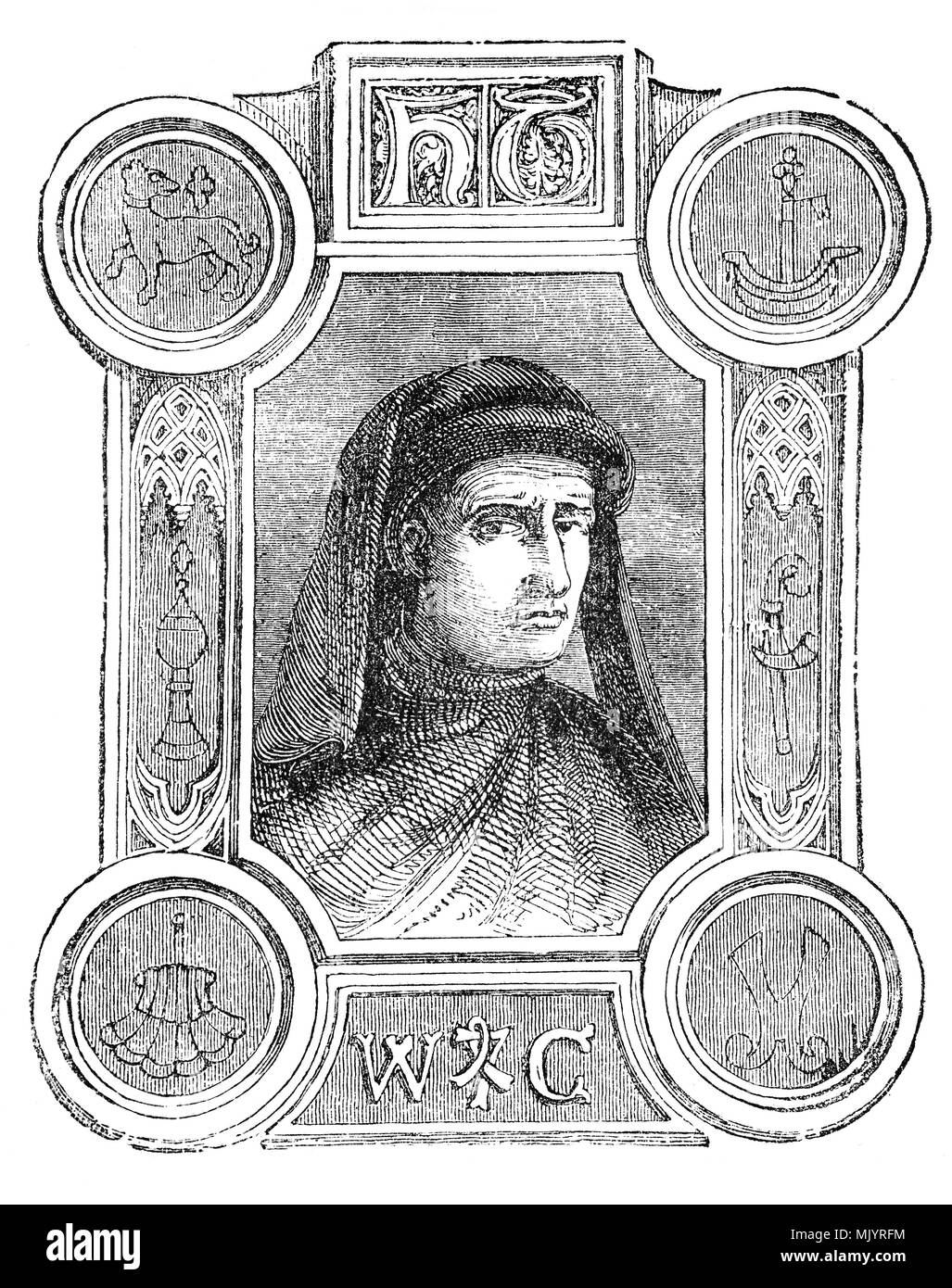An ornate portrait of William Caxton (1412-1493) who set up the first printing press in England in 1472. He was born in Kent and after schooling spent many years in Bruges and Holland, rising to an eminent position among his fellow merchants. He went to Cologne and embraced the new technique of printing and acquired a press in order to publish his translations of various French books. Bringing his press to England he rented premises at the sign of the Red Pale in Westminster. Between 1473 and his death in 1492, he published a hundred books. - Stock Image