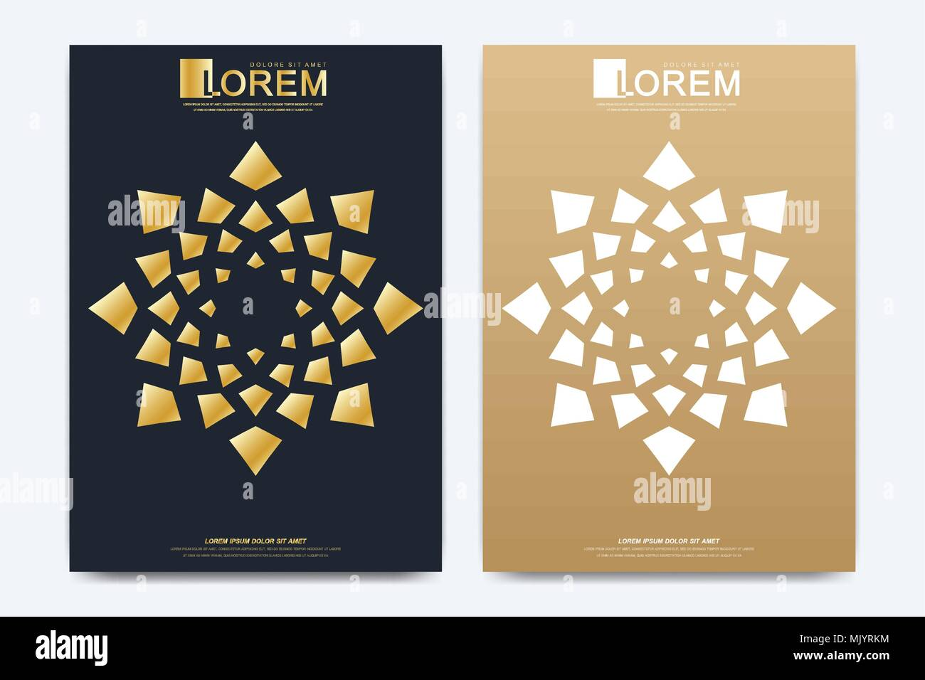 Modern vector template for brochure, Leaflet, flyer, advert, cover, magazine or annual report. A4 size. Islamic design book layout. Abstract golden presentation in islamic style. - Stock Image