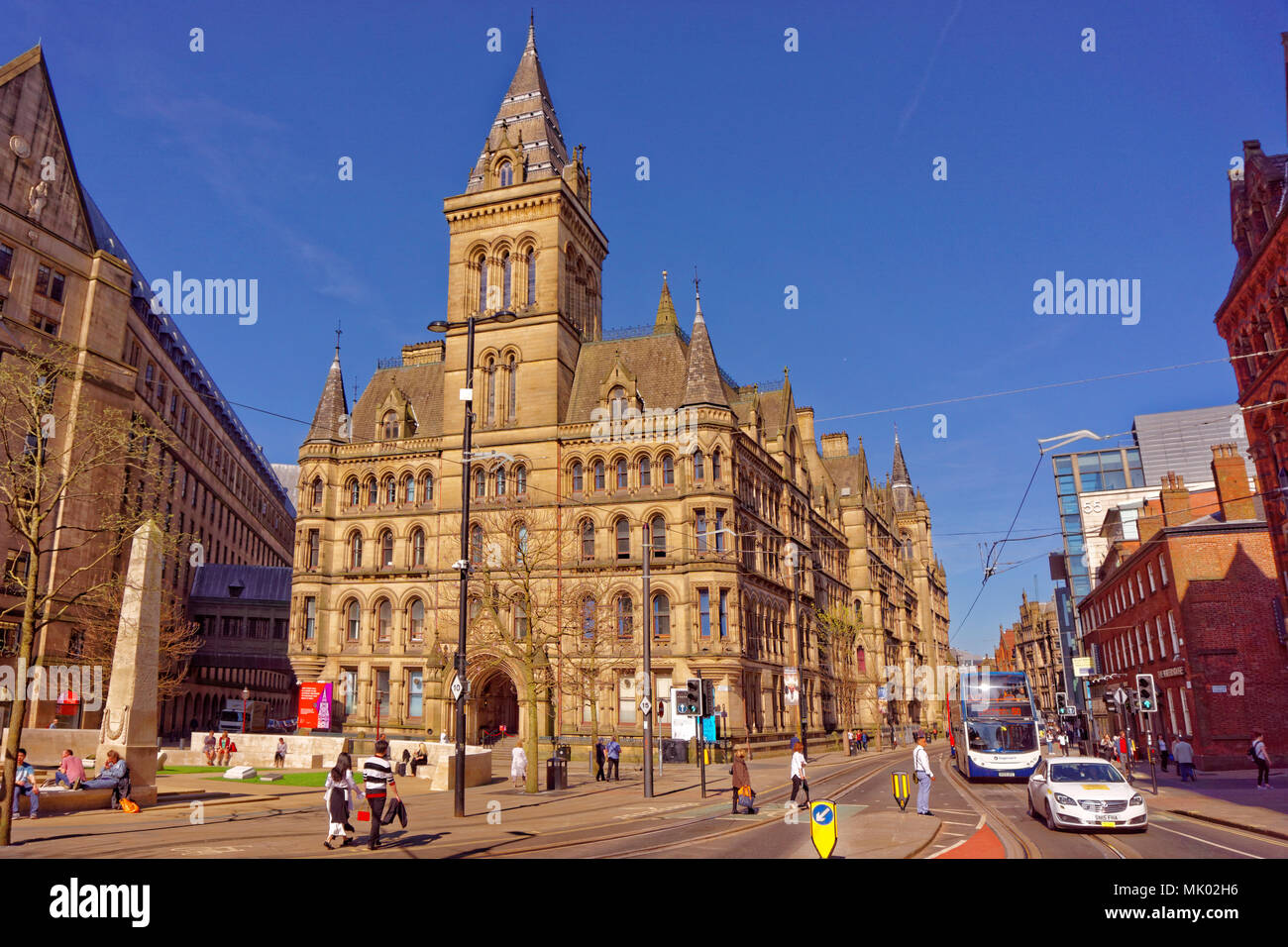 Manchester Town Hall east facing exit and the cenotaph area at Princess Street in Manchester city centre, Greater Manchester, England, UK. - Stock Image