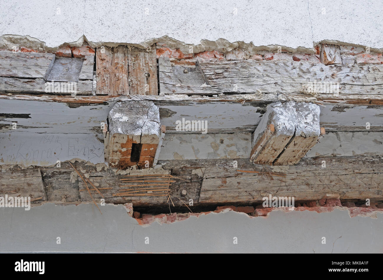 timber work at old building - Stock Image