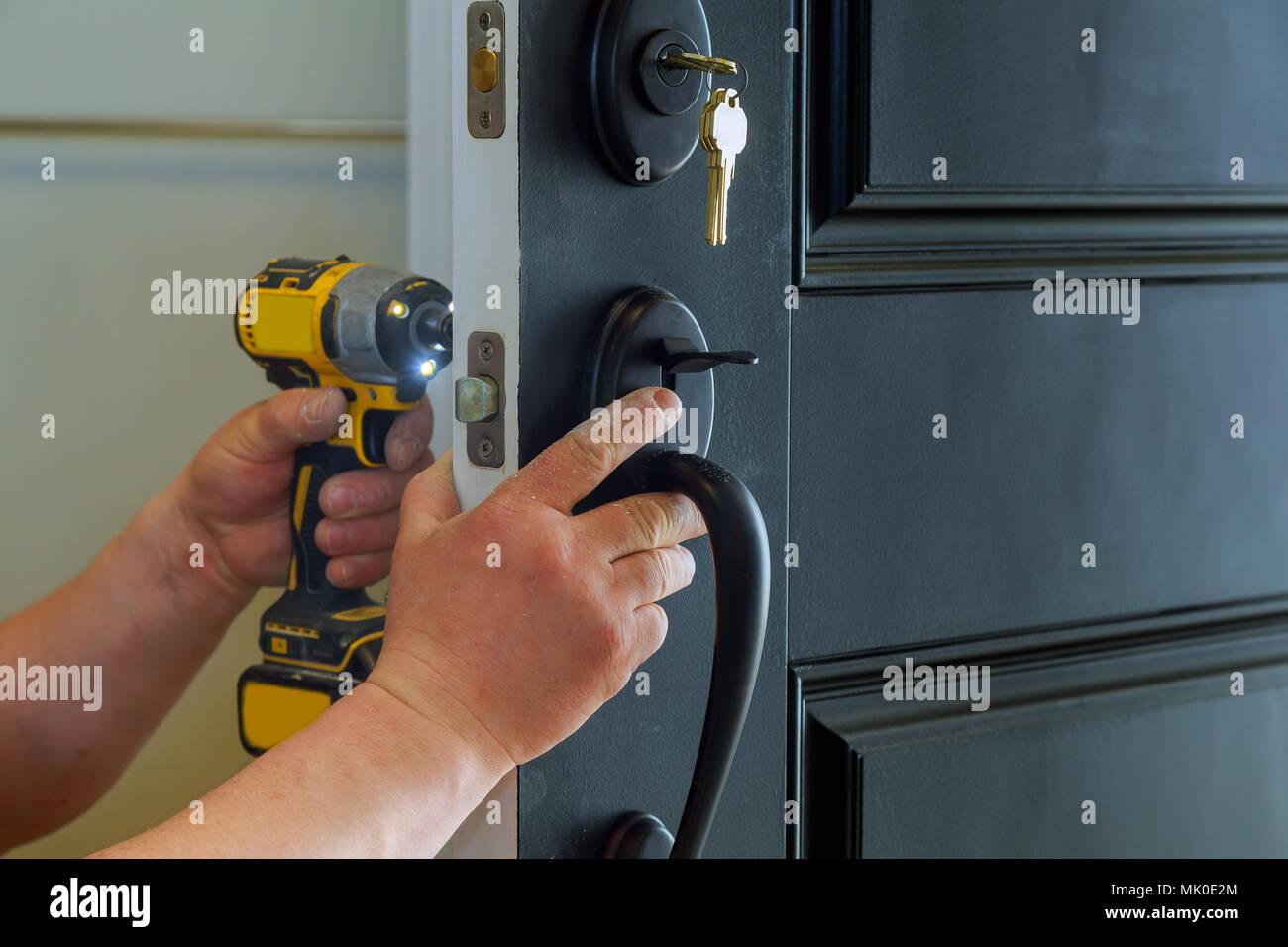 Installing An Exterior Door Stock Photos Installing An Exterior