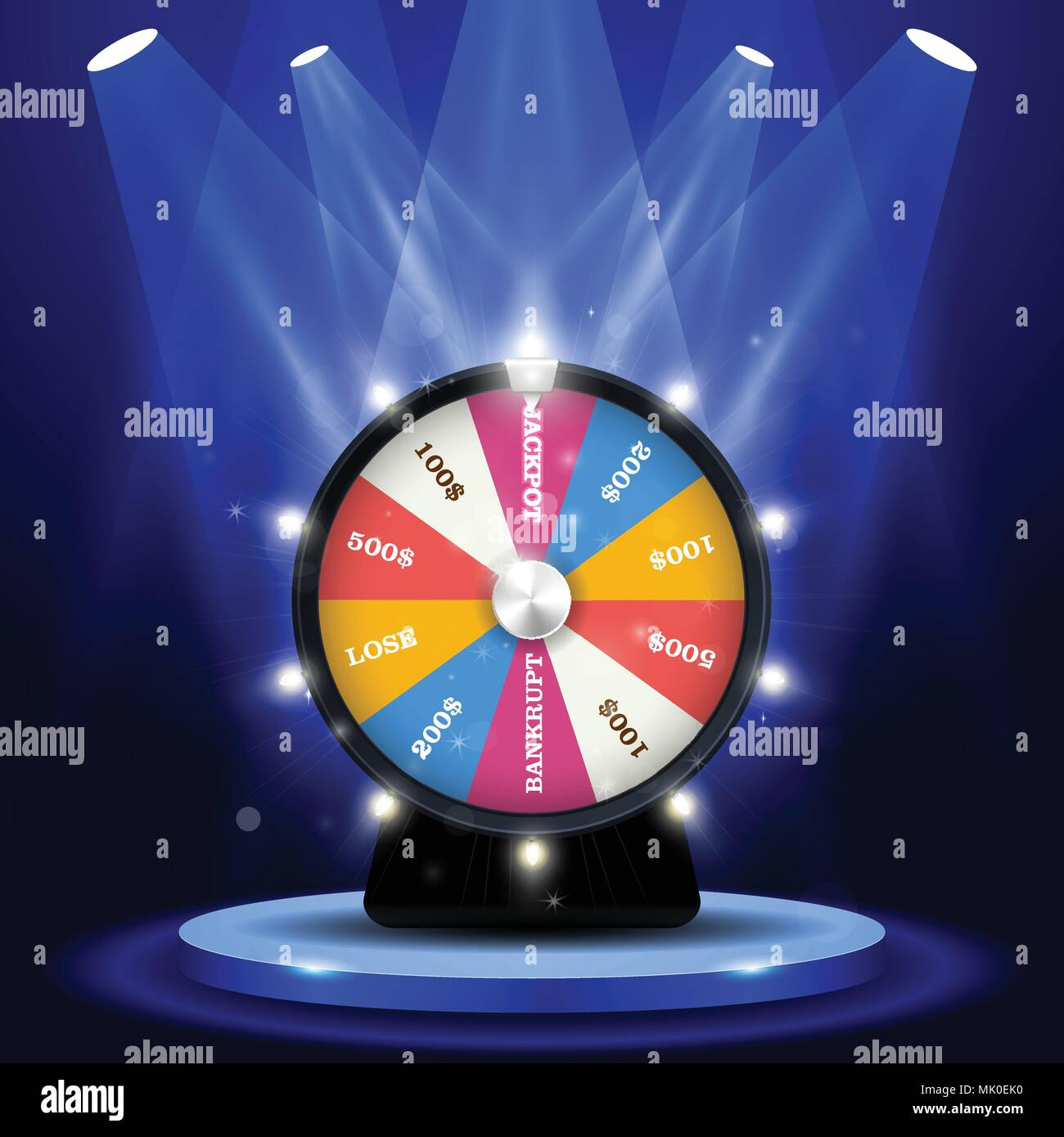 Lottery big win - jackpot on wheel of fortune, gambling concept - Stock Vector
