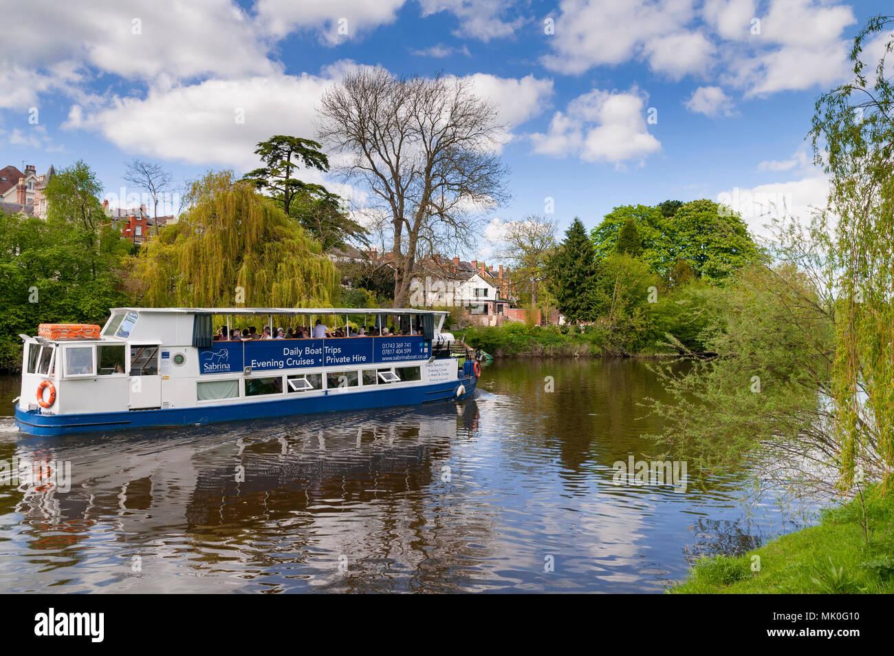 Shrewsbury River Severn pleasure boat cruise - Stock Image