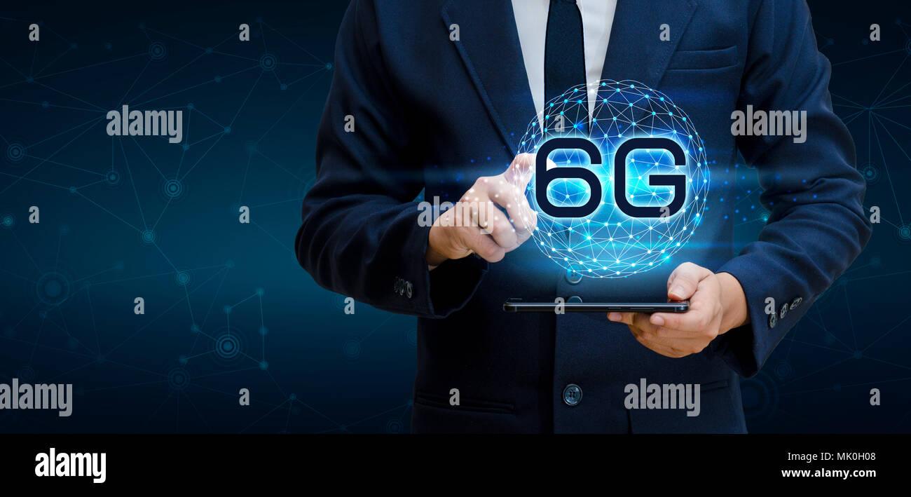 Technology Management Image: Phone 6g Earth Businessman Connect Worldwide Waiter Hand
