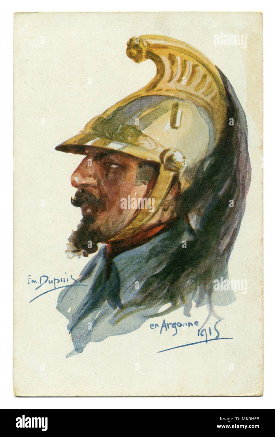 Old French postcard: brave Dragoon in a gold helmet with a plume. Argonne. The first world war of 1914-1918, France, Entente. WWi - Stock Image