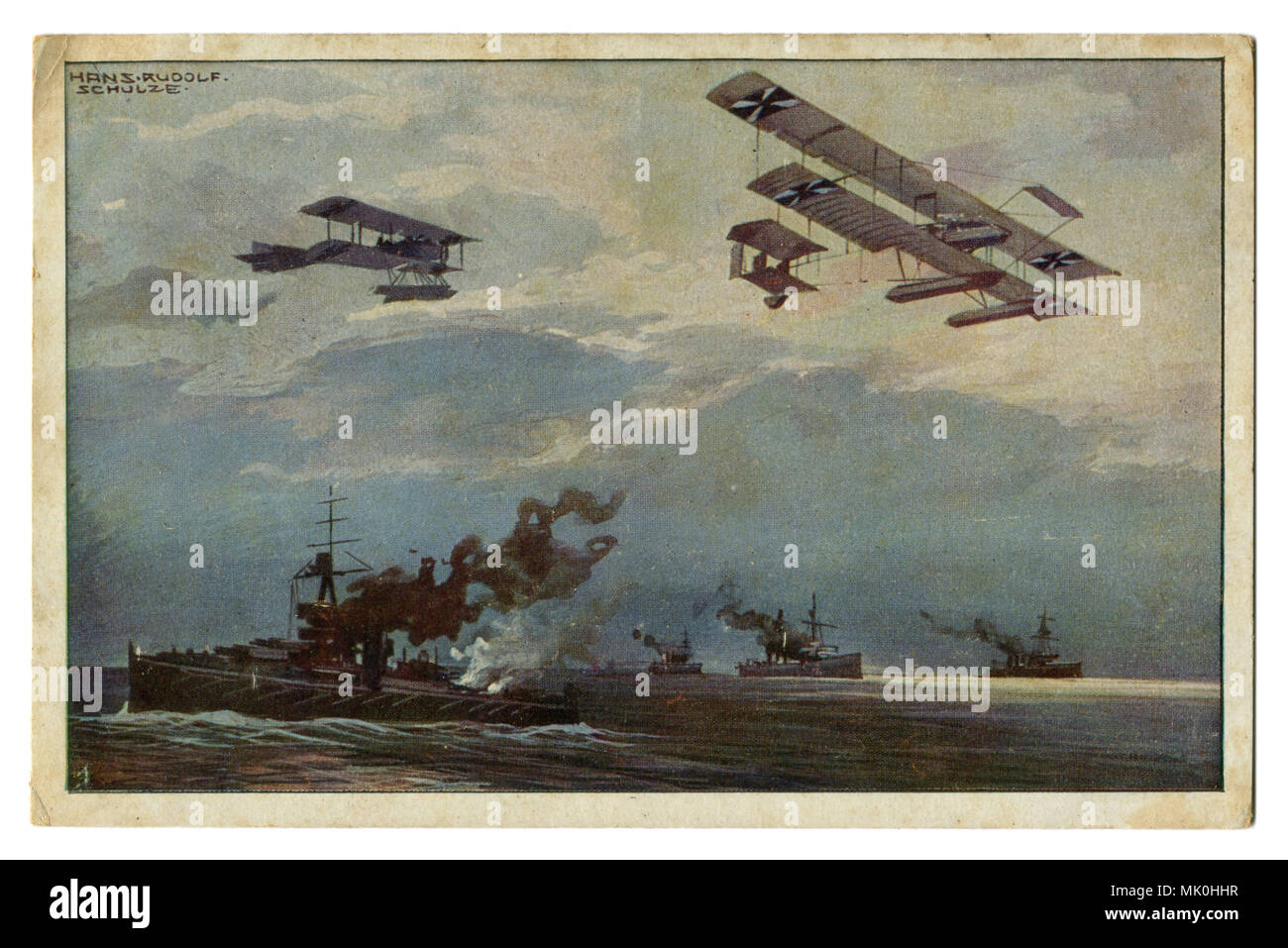 Old postcard: German military aircraft over the British fleet. Airplanes over warships. The first world war of 1914-1918, Western front, wwi Stock Photo