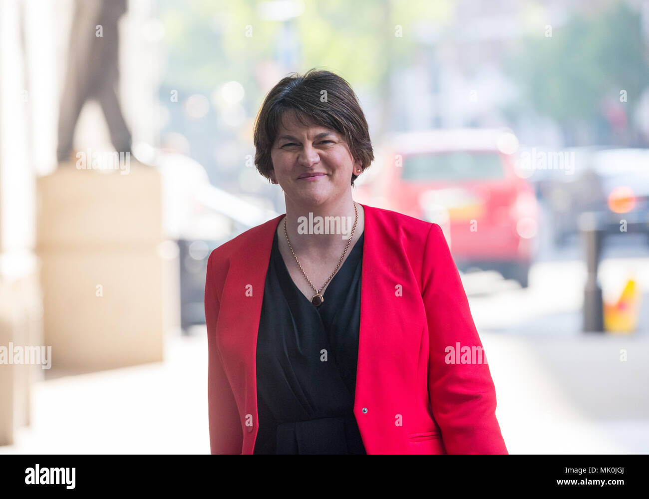 Arlene Foster, Leader of the Democratic Unionist Party, arrives for the Andrew Marr Show at the BBC - Stock Image