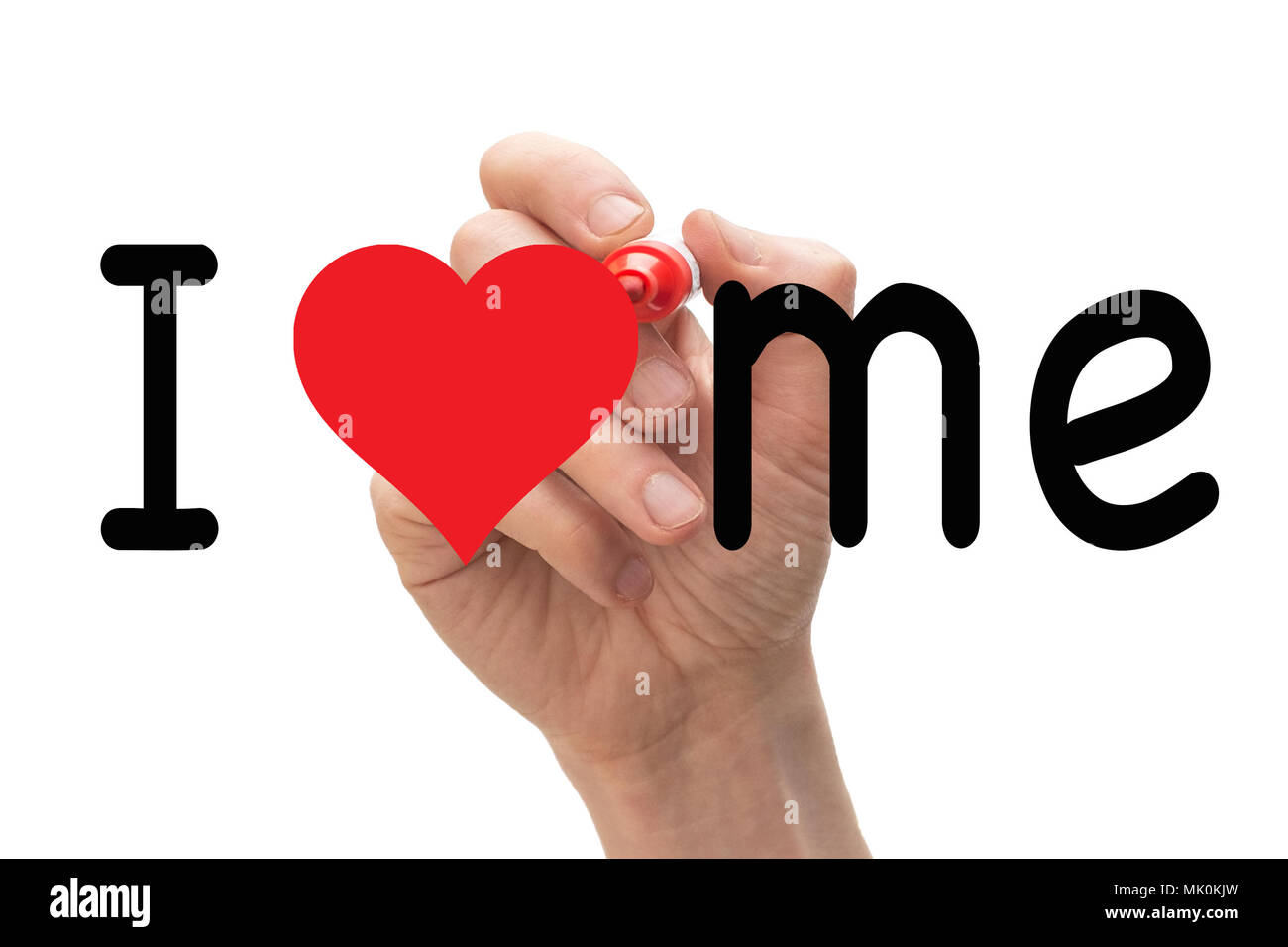 Hand writing I Love Me with red marker on transparent wipe board. - Stock Image