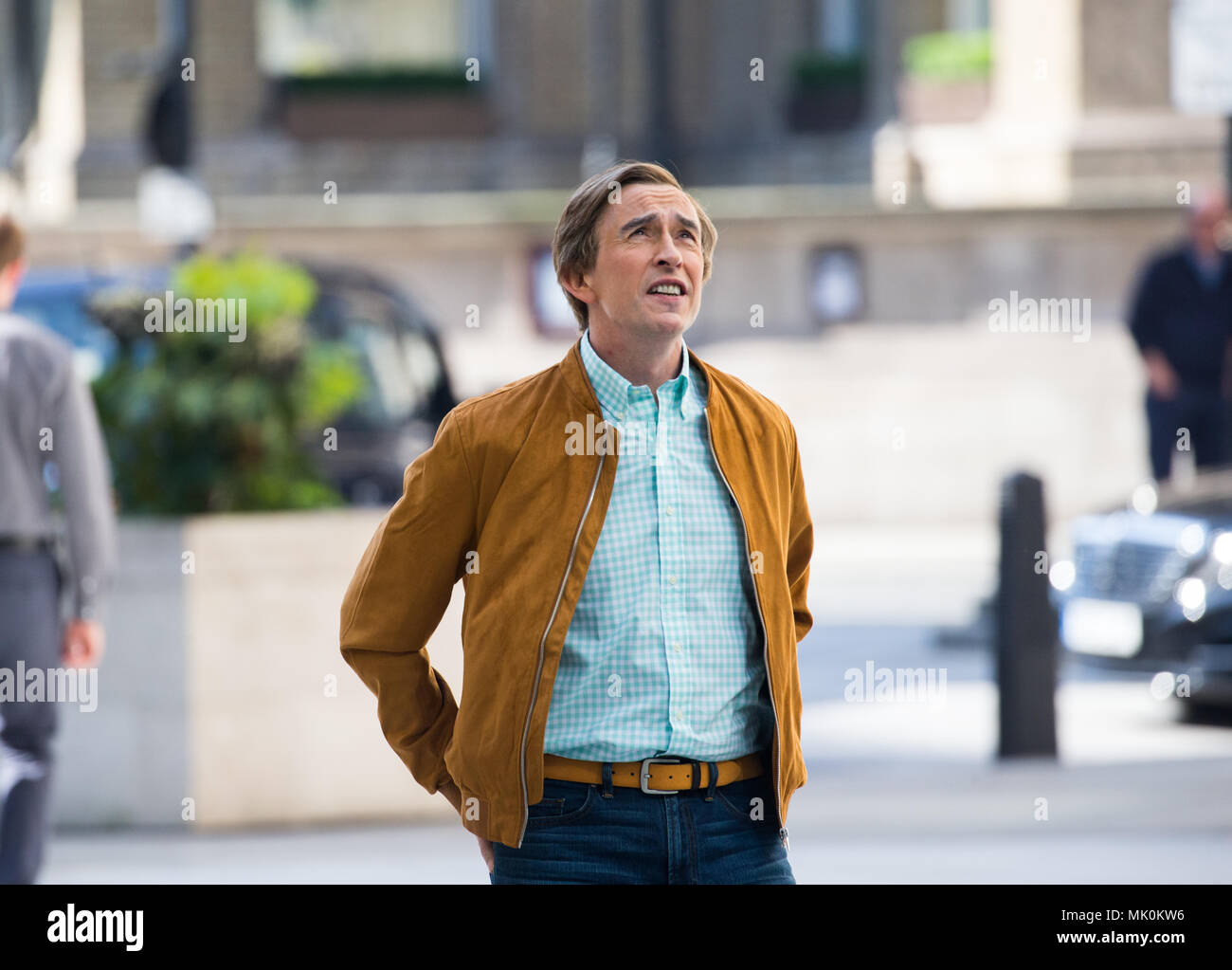 Filming of Alan Partridge, played by actor Steve Coogan, a parody of British Television personalities, as an inept television and radio presenter - Stock Image