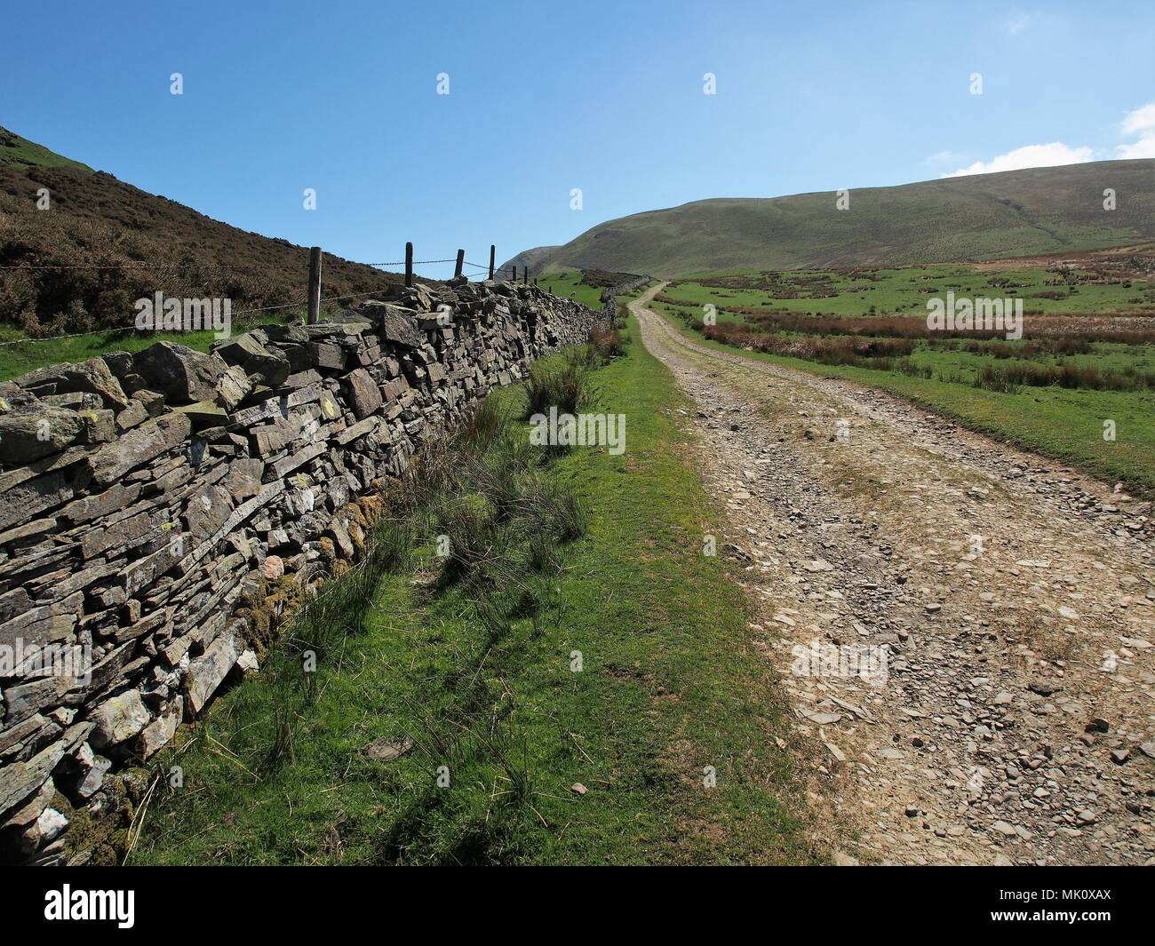 Farm Track leading to Loweswater from Fangs Brow, Lake District National Park, Cumbria, United Kingdom - Stock Image