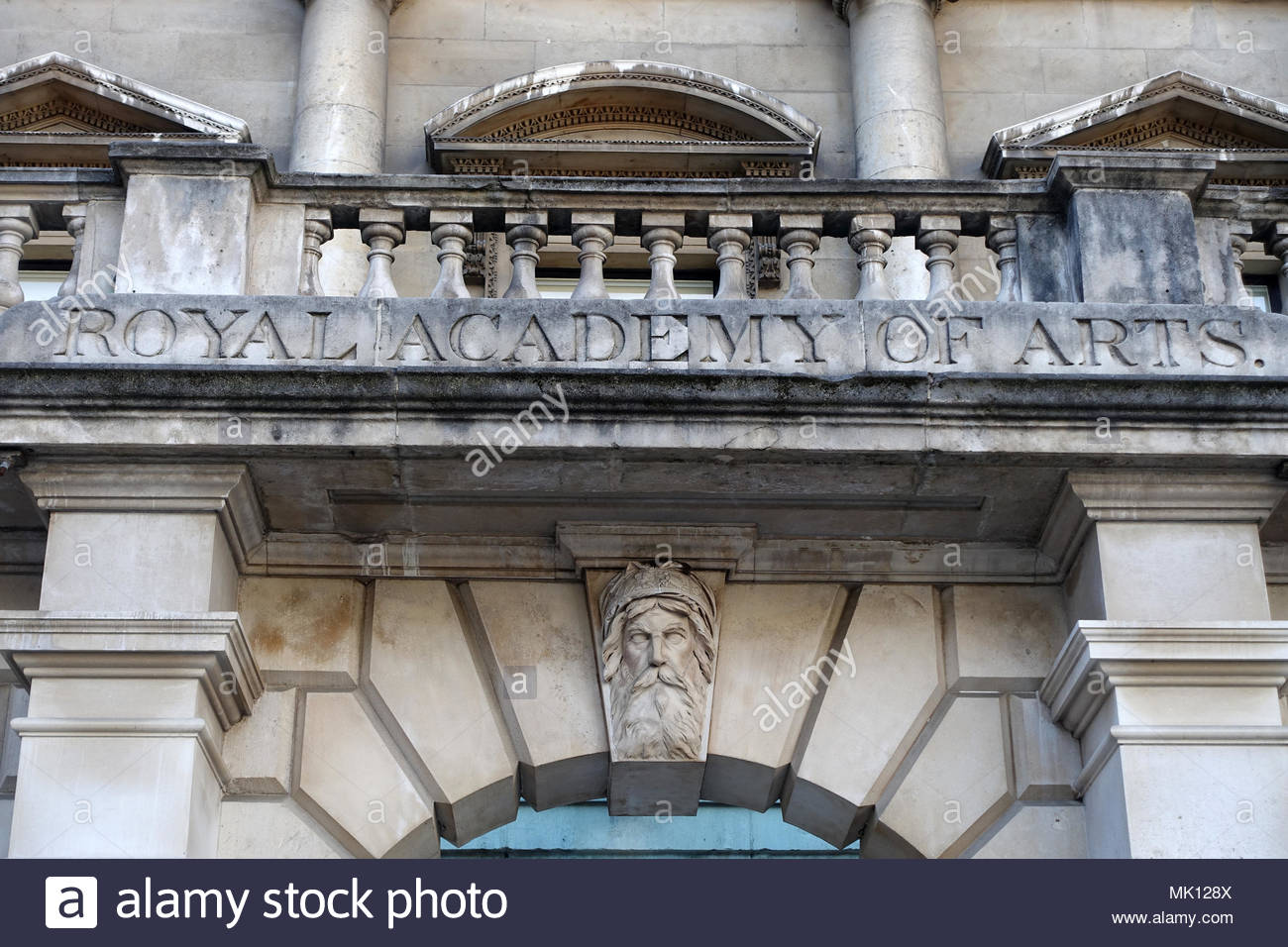 View of The Royal Academy of Arts inside Burlington House in Piccadilly London - Stock Image