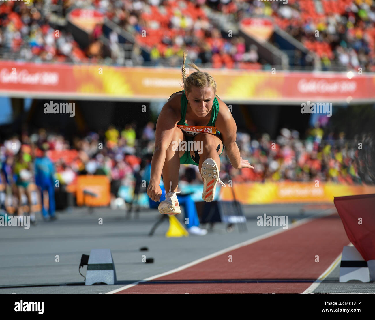 GOLD COAST, AUSTRALIA - APRIL 8: Juanelie Meijer of South Africa competing in the Women's F38 Long Jump at the Gold Coast 2018 Commonwealth Games at C - Stock Image