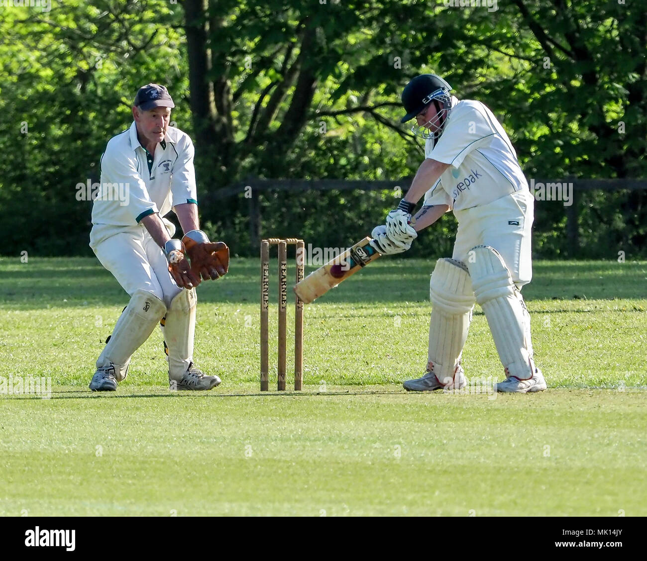 05.05.2018, Wymeswold, Leicestershire, England. Cricket Wymeswold CC 2nd v Hucknall 4ths in the South Notts Cricket League - Stock Image