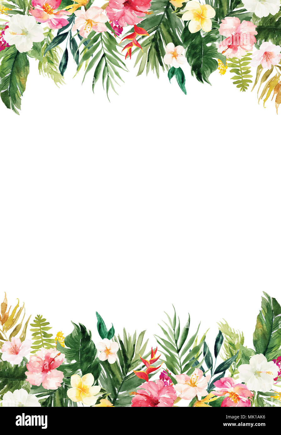 The Vertical White Blank Paper Background With Colorful Plants And
